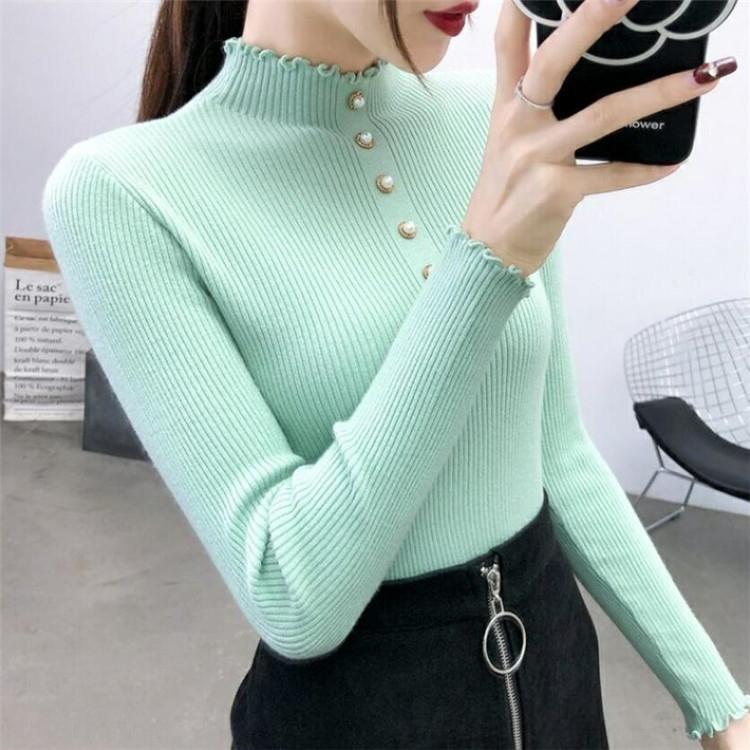 delle donne semi-dolcevita 2020 Pullover maglione all'inizio della primavera il nuovo stile coreano slim-fit e pullover slim-fit maglia di base maglione nAwna