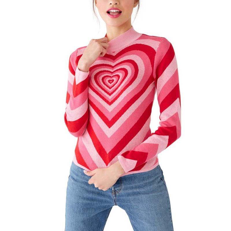 Новая весна Женщины лоскутное Розовое сердце сладкий свитер дамы половину высокой шеи Слима свитер с длинным рукавом Pink Любовь трикотажные пуловеры