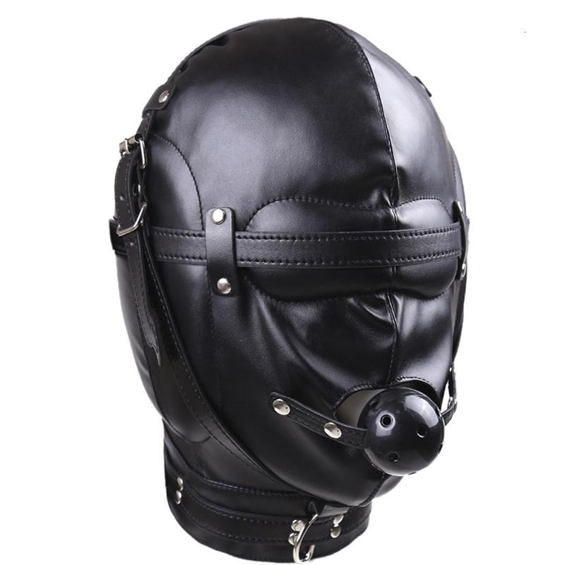 Kopfbedeckungen Sexspielzeuge mit Mouth Ball Gag Bdsm Erotische Leder Sex Hood für Männer Adult Games Sex Sm Maske für Paare