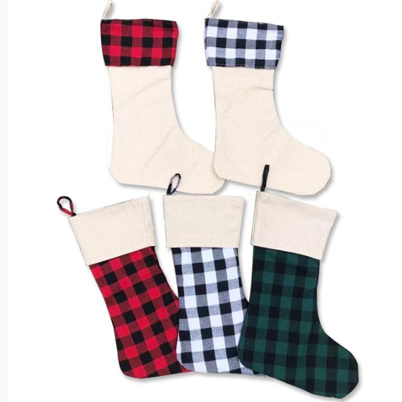Cadeaux de Noël pour enfants Décoration de Noël Bonbons Stocking Ornements de Noël en treillis décoratif Plaid Hanging Sac bonbons Chaussettes OOA9148