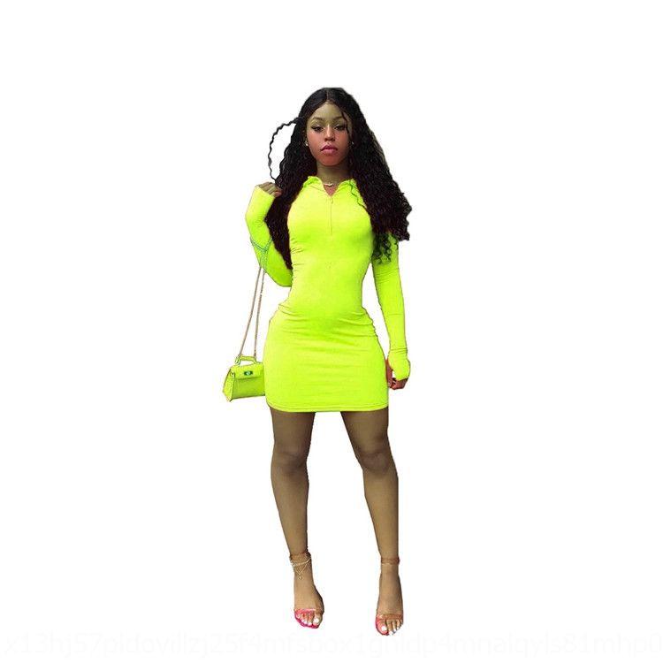 GIjBq S2PaP 2020 à manches longues des femmes occasionnels solide couleur hip-couvert 2020 manches longues femmes occasionnels solide robe robe couverte hip-couleur