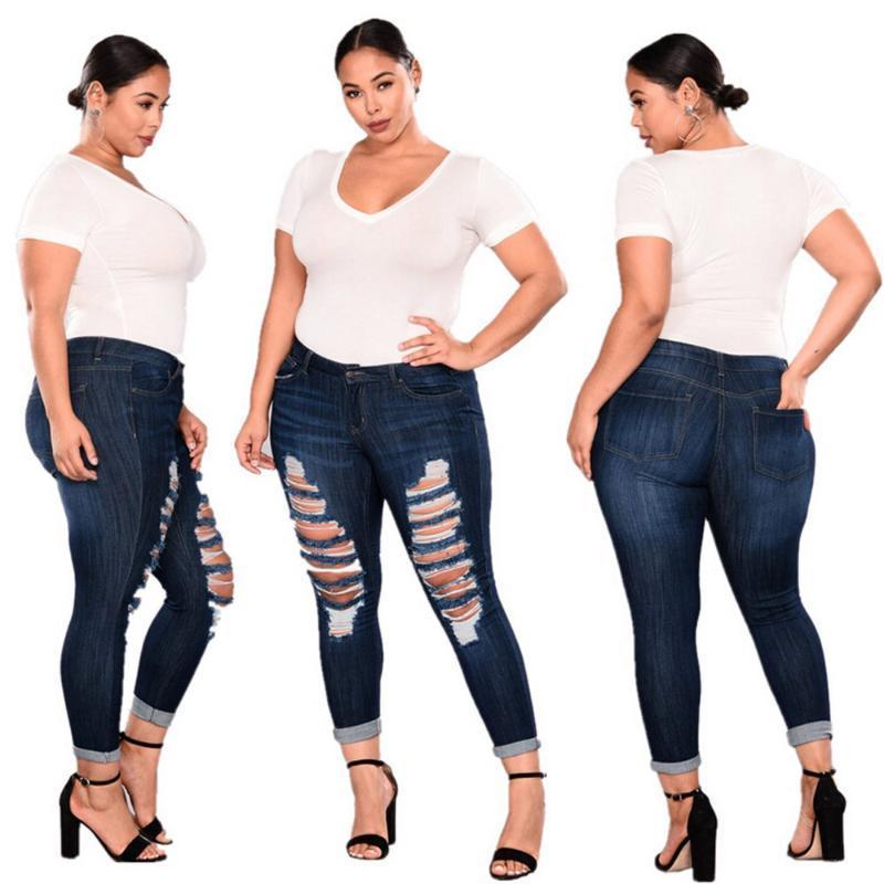 7XL plus size Frauen zerrissene Stretch dünne Denim-dünne Jeans-Hosen der hohen Taille Skinny Jeans Hose dünne Frau