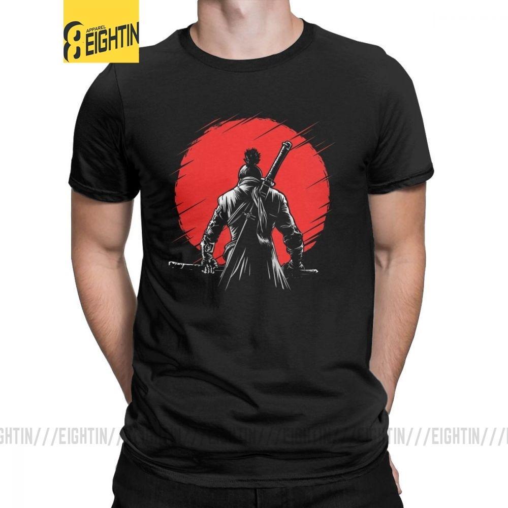 Homens T-shirt de um braço só lobo vermelho Sun Sekiro Sombras Die Twice algodão camiseta manga curta Lobo Almas Jogo Samurai camisetas