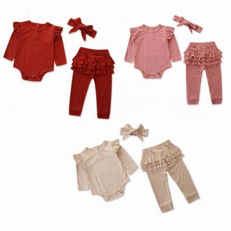 Девочка одежда Наборы для младенцев Rompers Pantskirt оголовье 3шт наборы Девушки Вязаная Сборки Топы Брюки Hairband Осень Весна Мода Комбинезоны sDm2 #