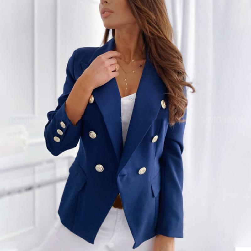 Autumn Double-breasted Blazers Women Elegant Solid Stand Collar Long-sleeved Suit Female 2020 Fashion Winter Ladies Suit Jackets