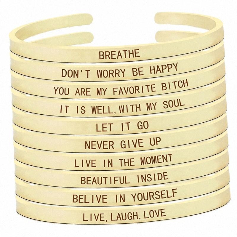 Credete in voi stessi ispiratore Quota donne moda incisa braccialetto d'oro del braccialetto del polsino regolabile MXGG #