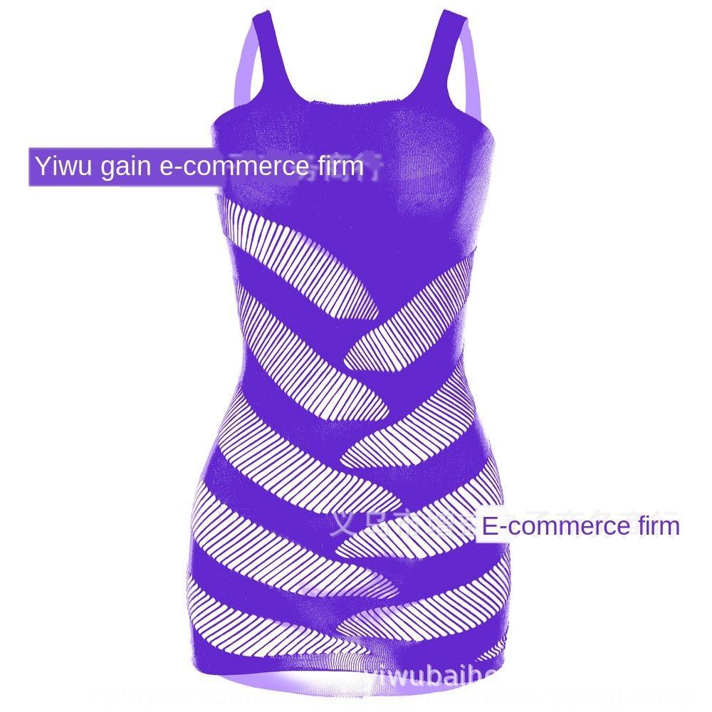 Striped vestiti sexy della maglia tuta bretella a rete sexy tentazione vestito dell'imbracatura orizzontale vestito dell'anca W084 RDP0e