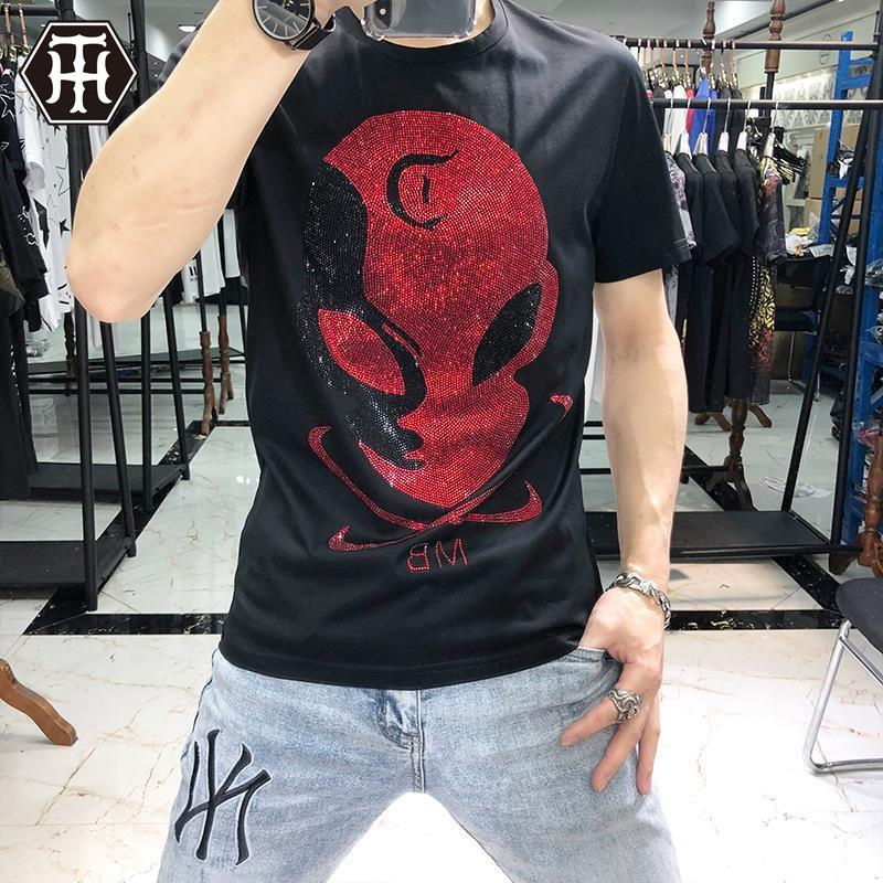 Männer Du Dewei Modemarke T-Shirt für Männer mercerisierter Baumwolle T hot Diamant Schädel kurze Ärmel der Männer Ice Silk