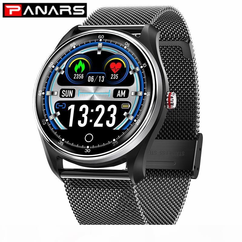 El recordatorio elegante reloj PANARS Hombres Deportes Bluetooth Mensaje impermeable presión arterial Monitoreo de frecuencia cardíaca Relojes de pulsera de mujeres