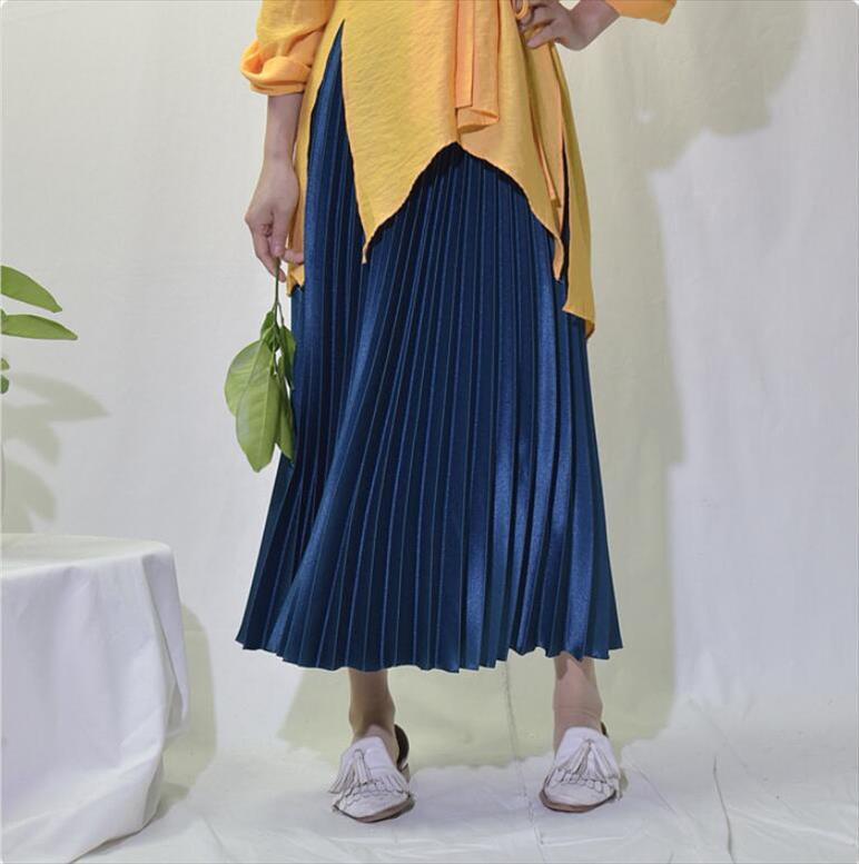 2020 Verão Mulheres elegante saia plissada cintura elástica Mulheres saia longa Feminino Outono de alta qualidade saia de Midi Saia QH1681