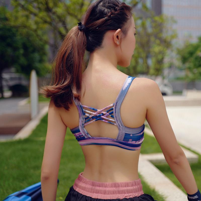 CHU Sexy Yoga sin espalda sujetador de los deportes de mayor aptitud Bras Mujeres de tiras de sujetador con relleno gimnasia de los deportes de la yoga de la ropa interior Bras B1226
