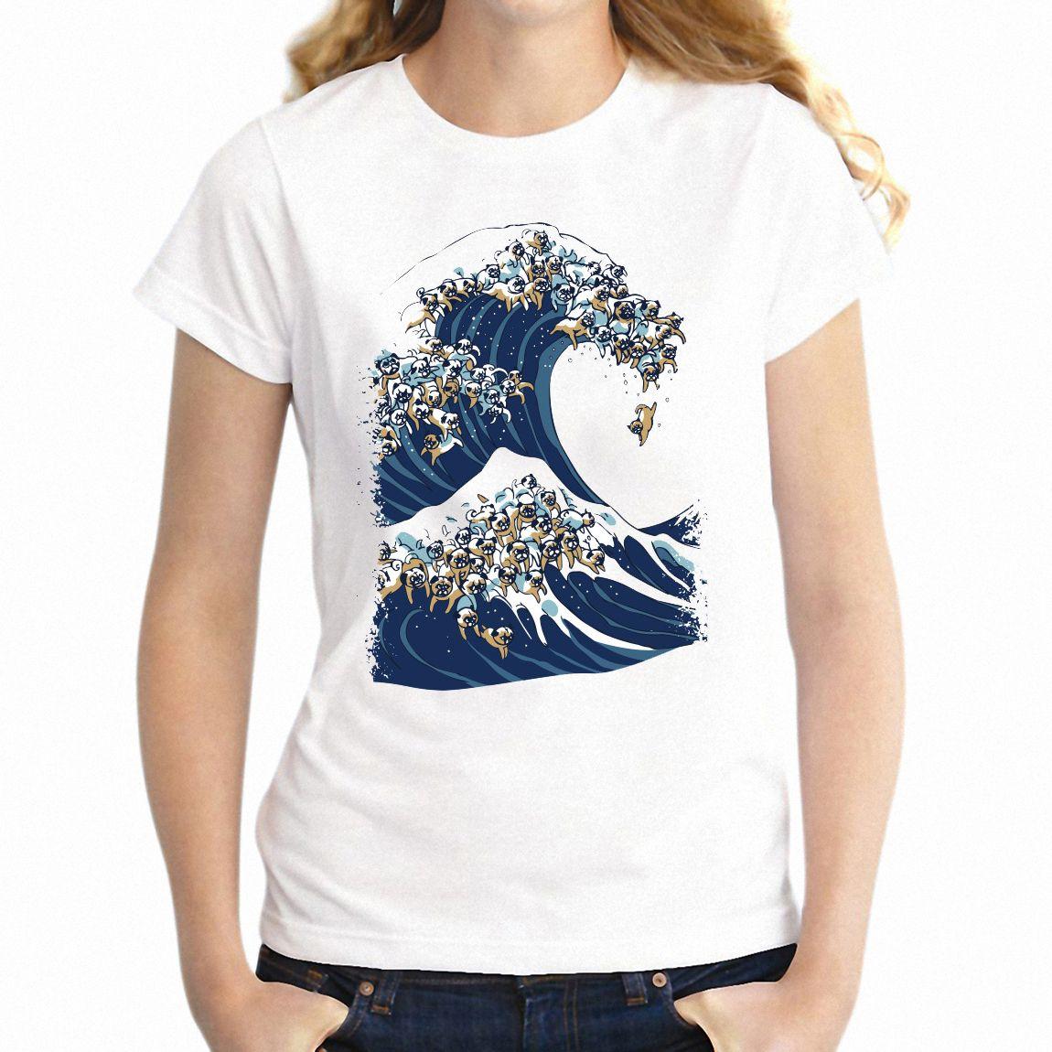 Camiseta de las mujeres La gran ola de Kanagawa amasado Off impresionante tee de Animales chica