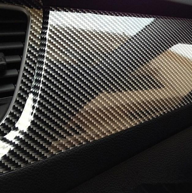 1Piece DIY 50*10cm 5D Carbon Fiber Vinyl Stickers High Quality Black Car Stickers For Car Decoration Accessories
