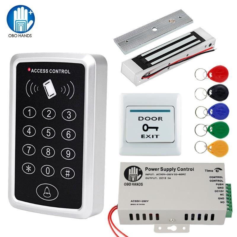Sistema OBO Porta Kit Controle de Acesso RFID teclado Waterproof Tampa + 180kg Magnetic greve Bloqueio eletrônico + Alimentação + 5 Keyfobs