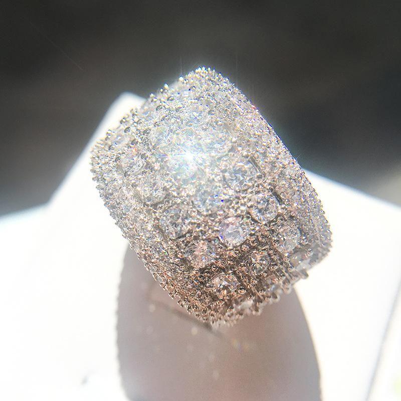 Neue Art und Weise Zircon-Männer-Diamant-Ring-Qualitäts-Verlobungsringe für Frauen Silber Ehering Schmuck a04