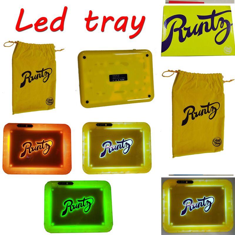 Çerezler Runtz Backwoods LED Glow Tepsi 280 * 208 * 360mm Şarj edilebilir Kuru Ot Tütün Rolling Tutucu USB Kablosu Kutu Çanta Ambalaj 550mAh Pil
