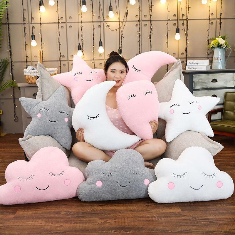 Plush Sky Pillows Emotional Moon Star Cloud Shaped Pillow Pink White Grey Room Chair Decor Seat Cushion MX200716