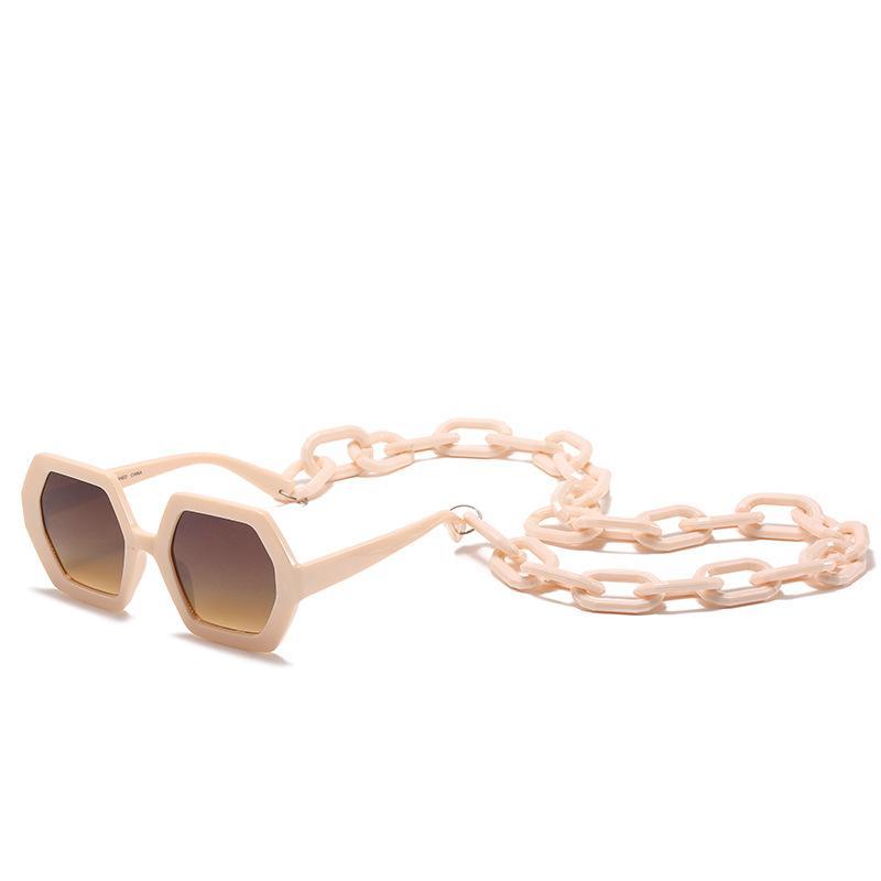جديد سلسلة مصمم مسدس 2020 المرأة النظارات الشمسية فوق البنفسجية 400 النظارات الشمسية الواقية مع سلسلة في الهواء الطلق النظارات الرجعية