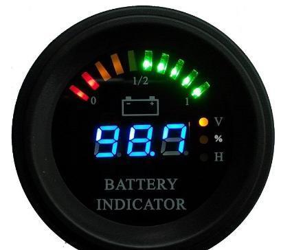 Round LED Digital Battery gauge discharge Indicator hour meter state of charge forklift, EV, 12V 24V 36V 48V 60V