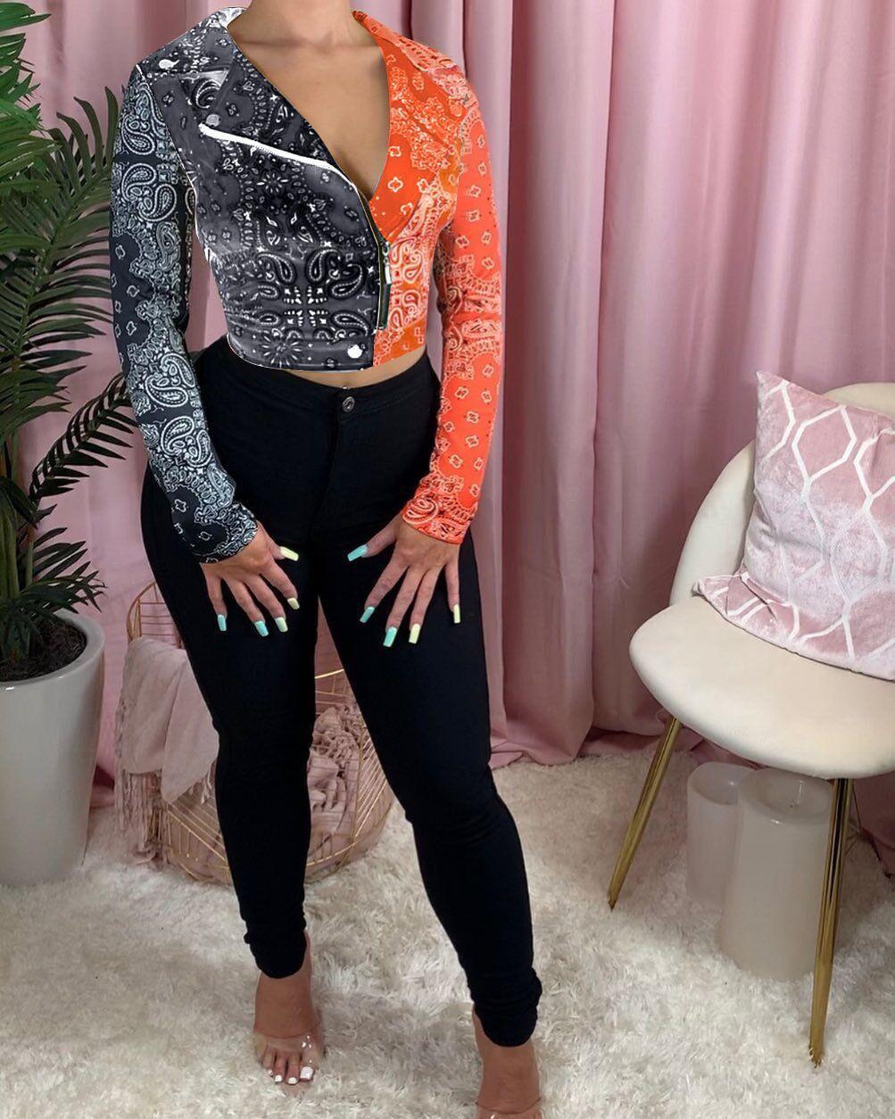 Dropshipping Herbst-Winter-Damen Designer-Jacke Mode-Kontrast-Farben Panelled Revers Ausschnitt Coats OL Art Frauenkleidung