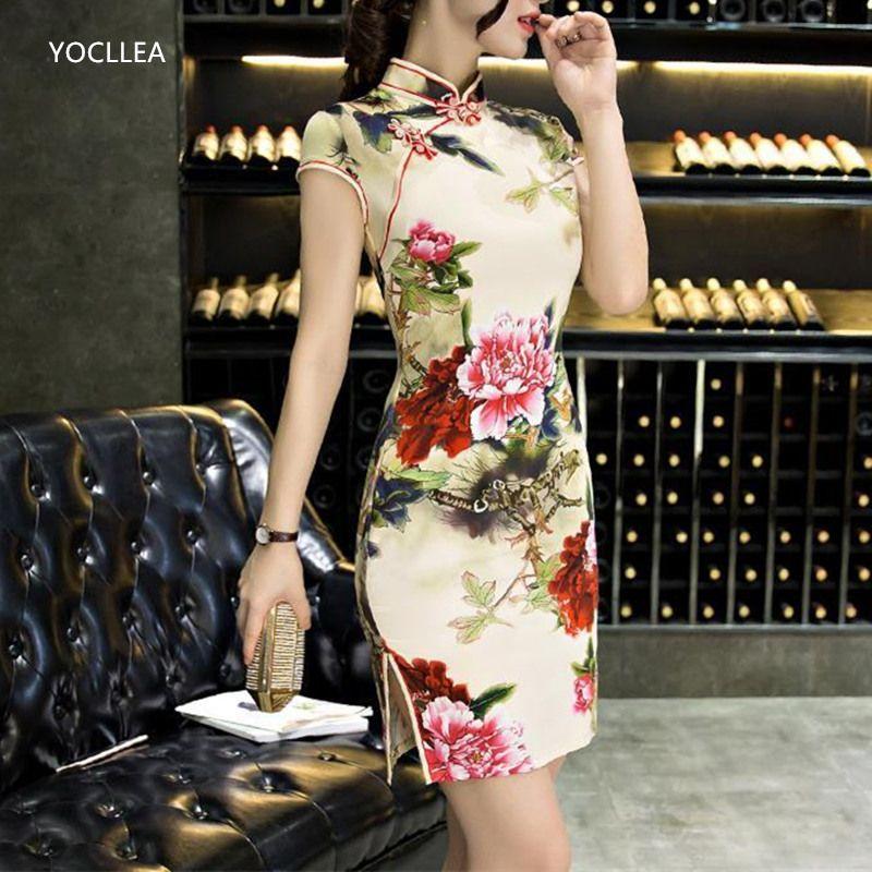 İpek Qipao Kısa Yaz Elbise Kadın Geleneksel Çin Giyim Seksi Moda Cheongsams Zarif Parti Elbiseler Vestidos Kadın