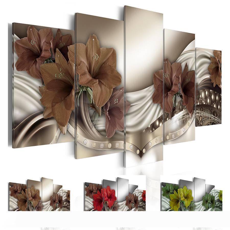Fashion Wall Art Canvas Painting 5 Pieces Red Brown Green Diamond Lilies Flower Modern Home Decoration, No Frame