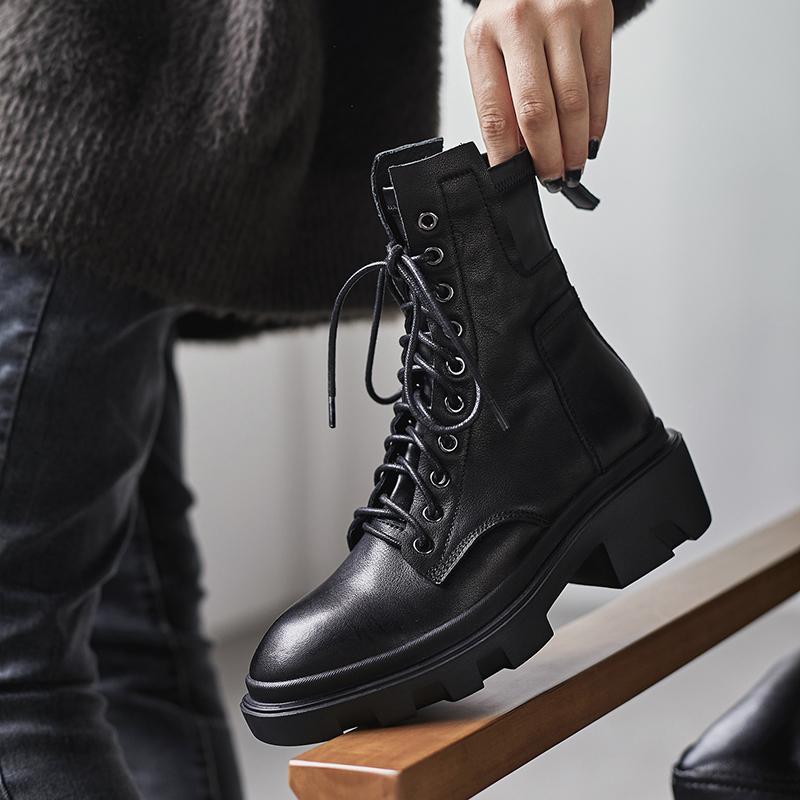 INS HOT donne caviglia tomaia in pelle bovina scarpe autunno e in inverno le donne lunghe elastiche Stivali da neve