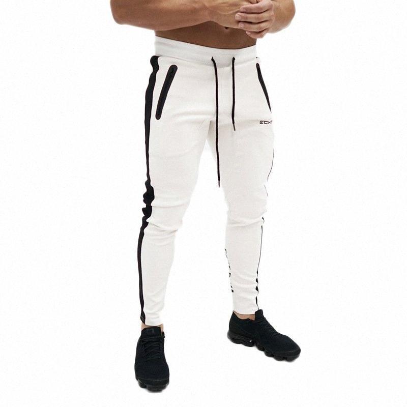 Herrenhosen Herbst-Seiten-Reißverschluss-Taschen-Jogger Hosen Bodybuilding Freizeit Hip Hop Hosen Männer nehmen Jogginghose TkKB #