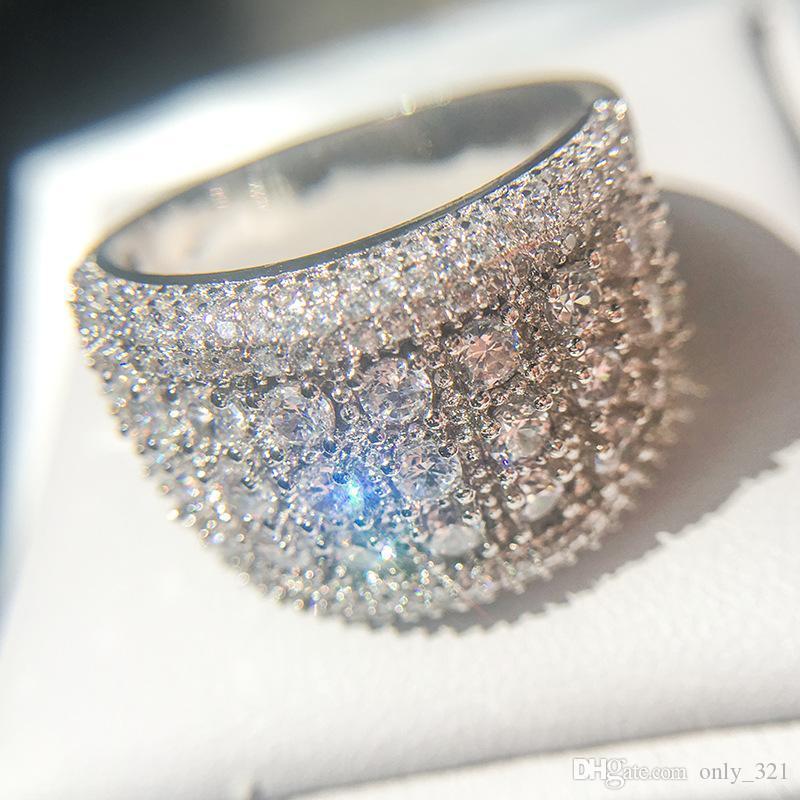 Neue Qualitäts-Mens Simulierter Diamant-Verlobungsringe Schmuck Mode Zircon Silber Ehering für Frauen