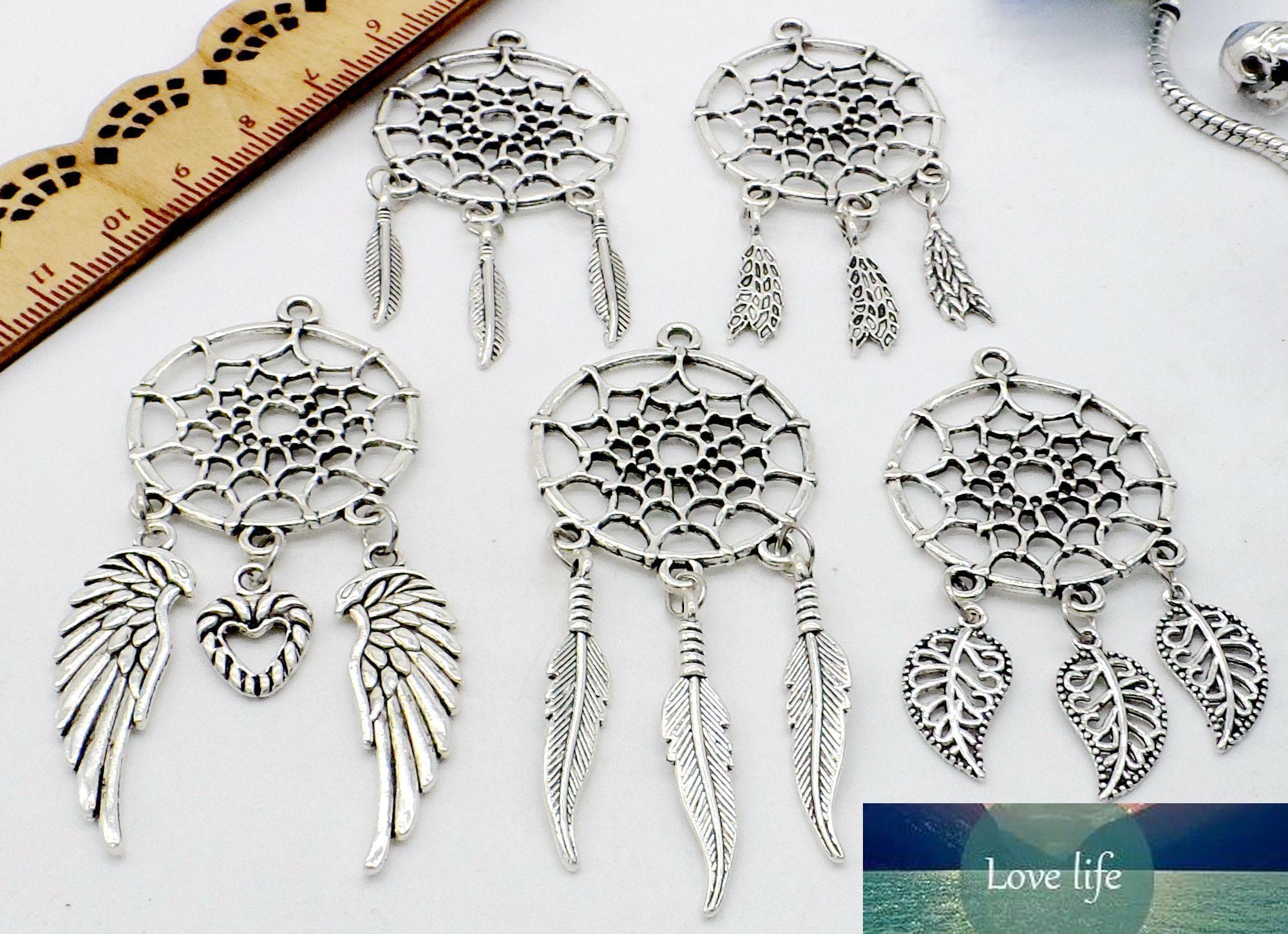 100pcs / lot Weinlese-Antike-Silber-Traumfänger-Charme baumeln Anhänger-passende europäische Halskette Schmucksachen, die DIY