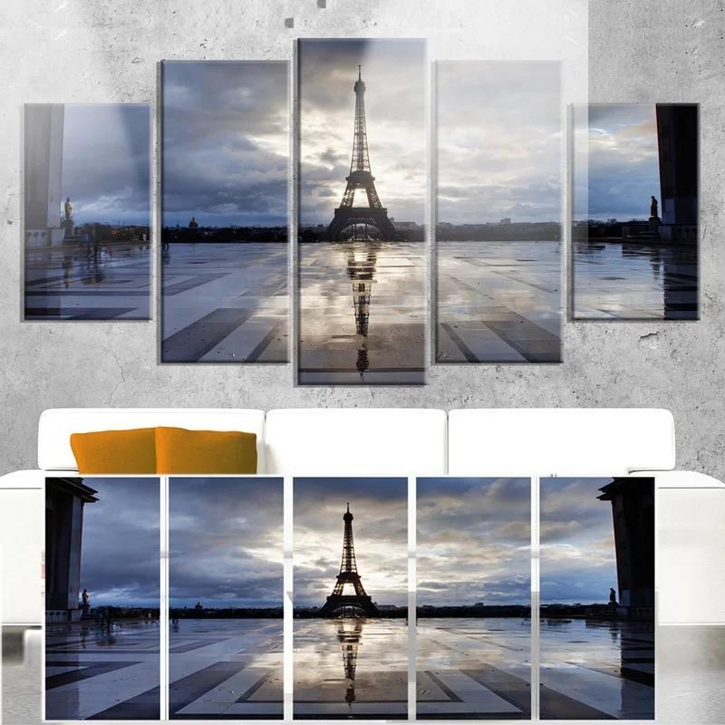 5 шт полотен Wall Art HD Печать плакат Home Decor Modular Эйфелева башня Франция Фотография Art Для Framework Спальни