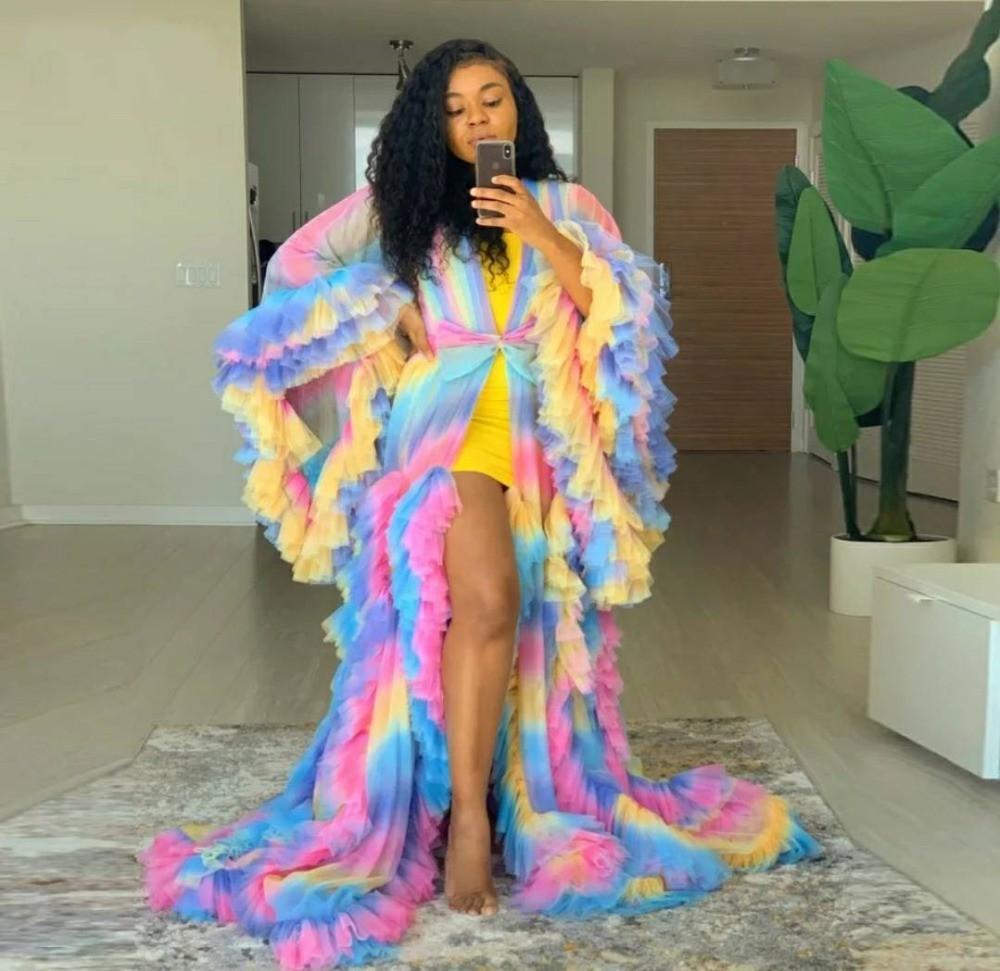 Rainbow Chic Vestidos de fiesta Robe Puff Full Mangas Full Ruffles Tiered Ver Thru Maternity Photoshoot Vestidos Colorido Vestido de noche
