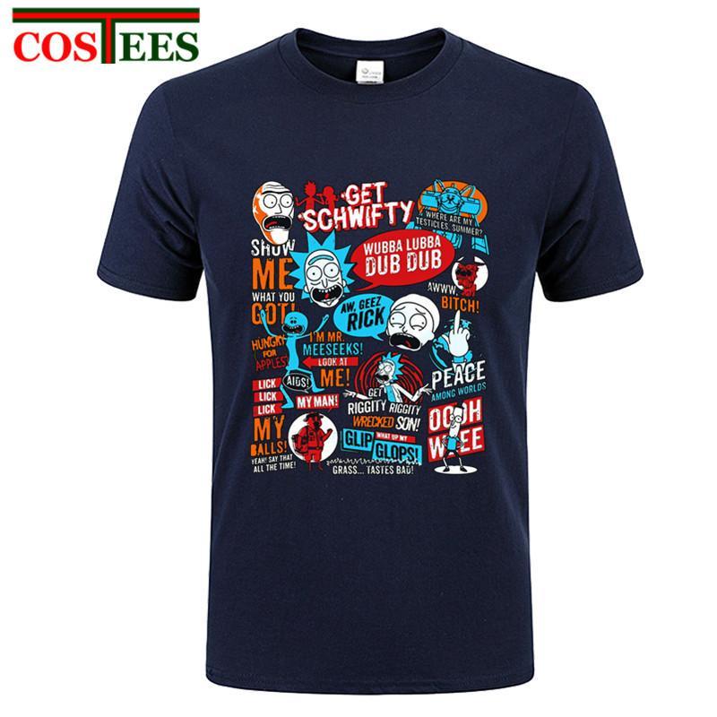 Высокое качество Морти и Rick Получить Schwifty футболки для взрослых Человек футболках Дешевые Оптовая 100% хлопок футболки молодежи Костюм футболки
