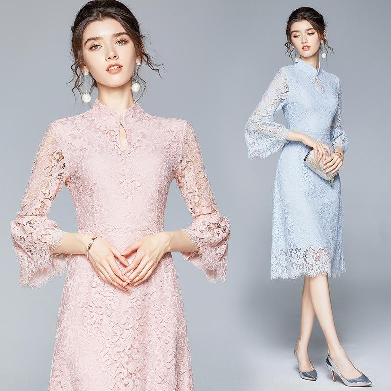 T4tRy Cuerno Moda Hada vestido de la falda de 2020 CR6Nh pura nuevo estilo de siete puntos trompeta vestido de la manga del color del otoño del ajuste delgado