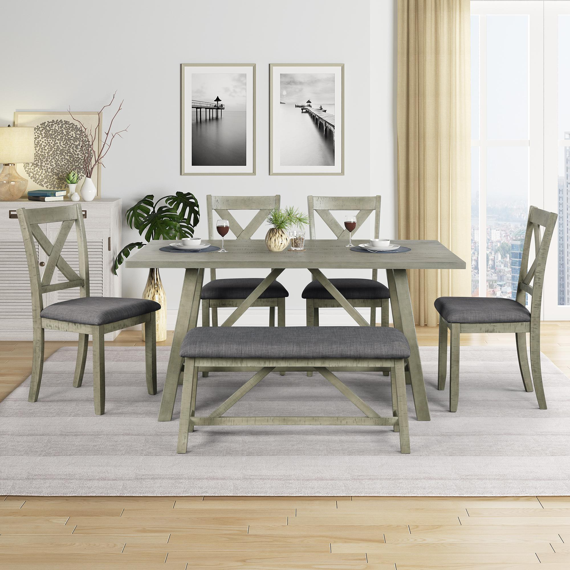 Picture of: 2020 Gray Dining Table Set Wood Dining Table And Chair Kitchen Table Set With Table Bench And 4 Chairs Rustic Style Sh000109aae From Topbriliant2020 716 65 Dhgate Com