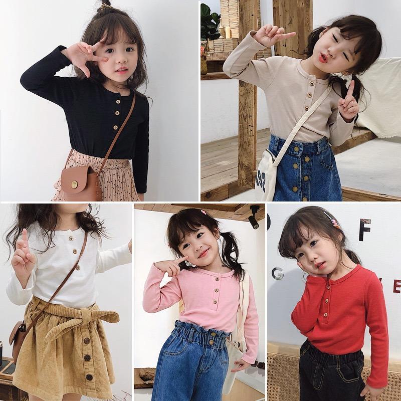 Nuove ragazze maglietta Blank INS Bambine autunno Moda puro cotone a maniche lunghe Pulsanti anteriori Girls 1-10 anni