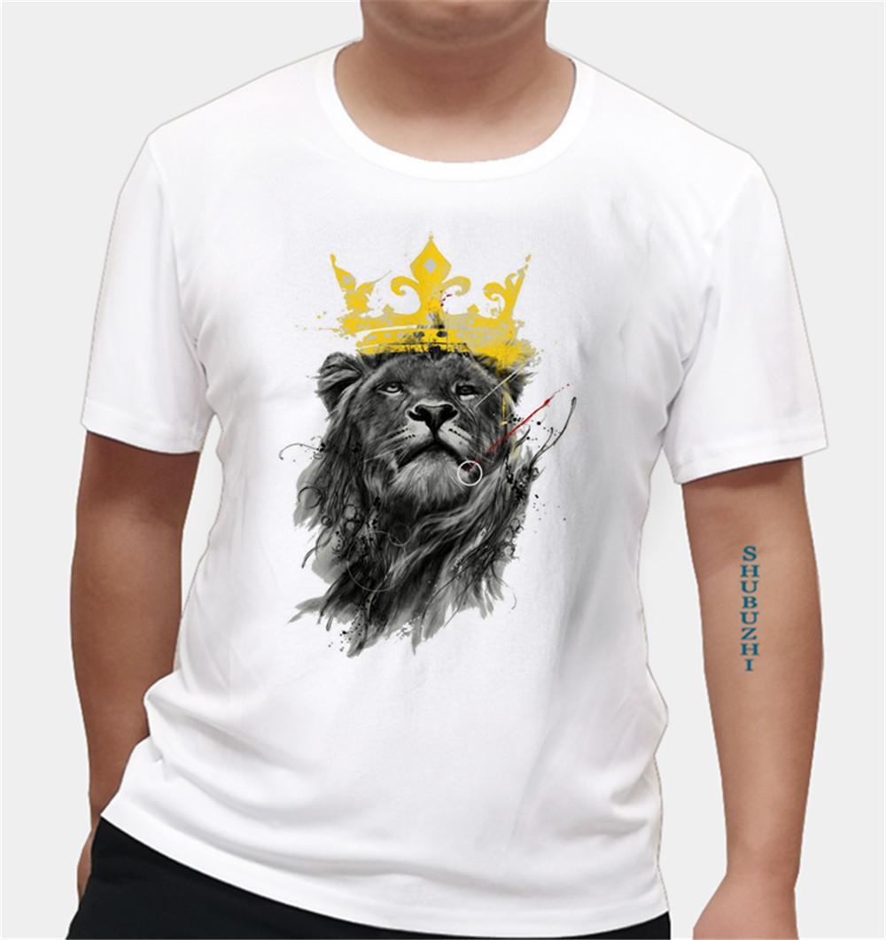 Boy Re Leone degli uomini della camicia Re Leone Tshirt shubuzhi marchio di cotone a maniche corte Uomo-Boy euro formato il trasporto libero