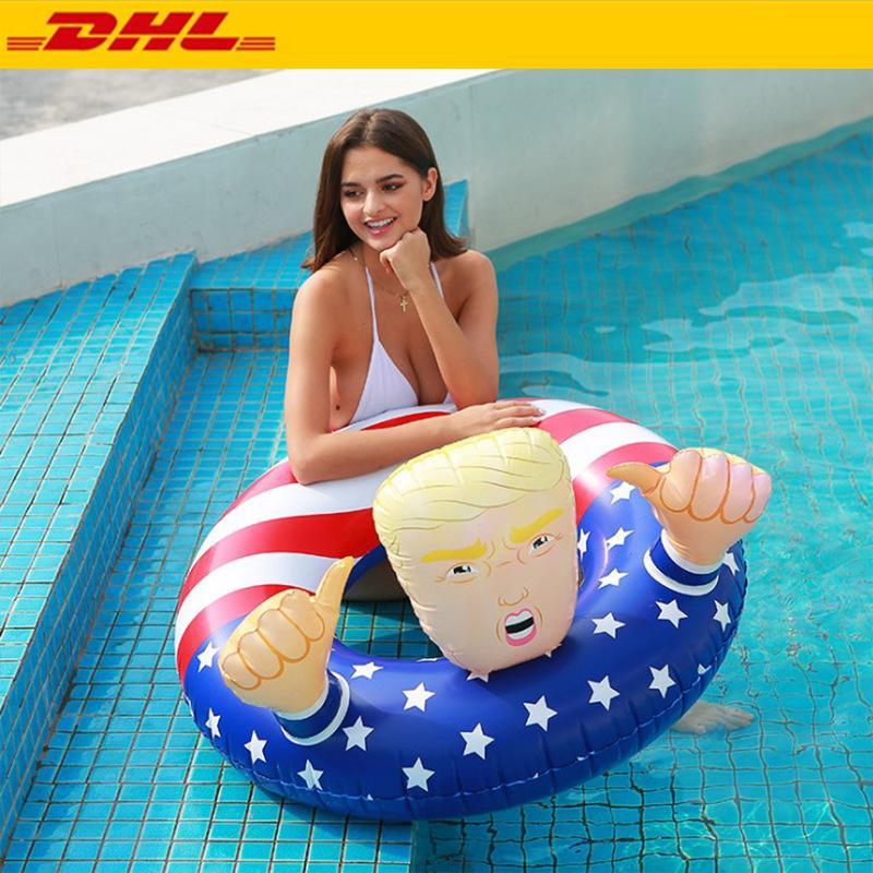 DHL Livraison 2020 Amérique Élection Trump Anneau Flotteurs gonflable Swim Thicken Cercle Drapeau Bouée Float pour les adultes d'été Pool Party