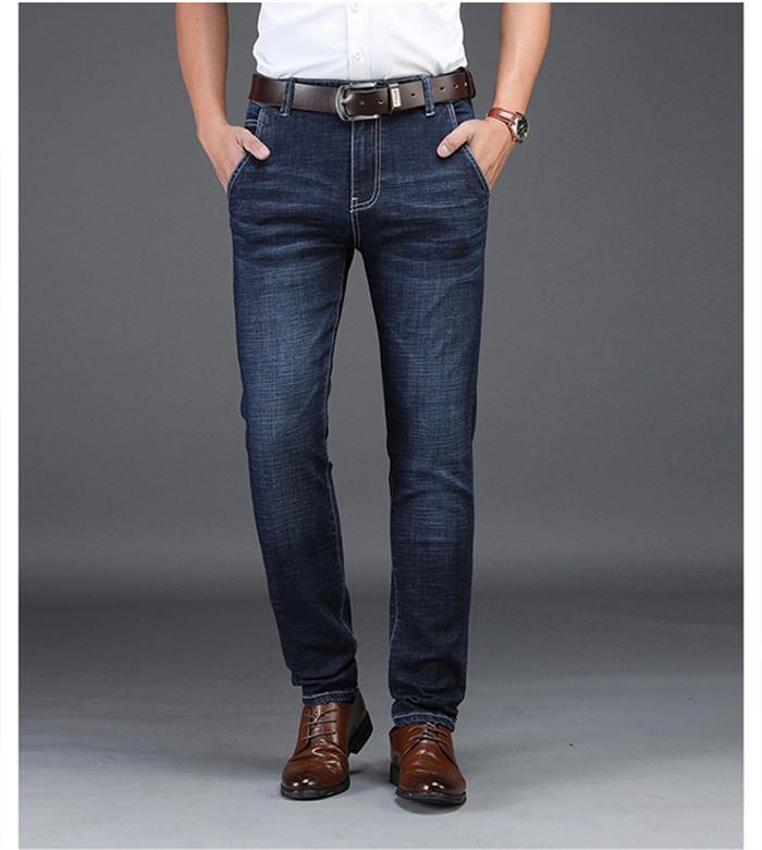 de homens inteligentes Jeans Casual Blue Black Denim Negócios Stragiht Silm Fit Jeans Tamanho 30 32 34 36 38 40 42 Calças Jean para homens, DN8933