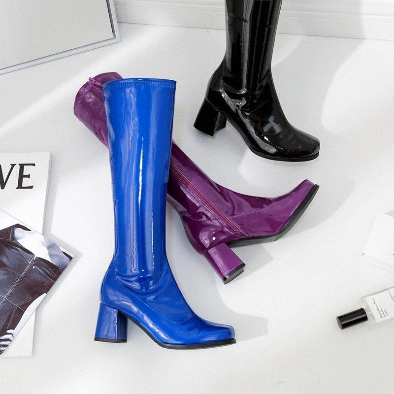 NOVO mulheres equitação joelho botas altas Outono-Inverno preto pontas do dedo do pé de moda sapatos roxos azuis Casual Handmade do salto alto 5,5 centímetros sapato 3nx5 #