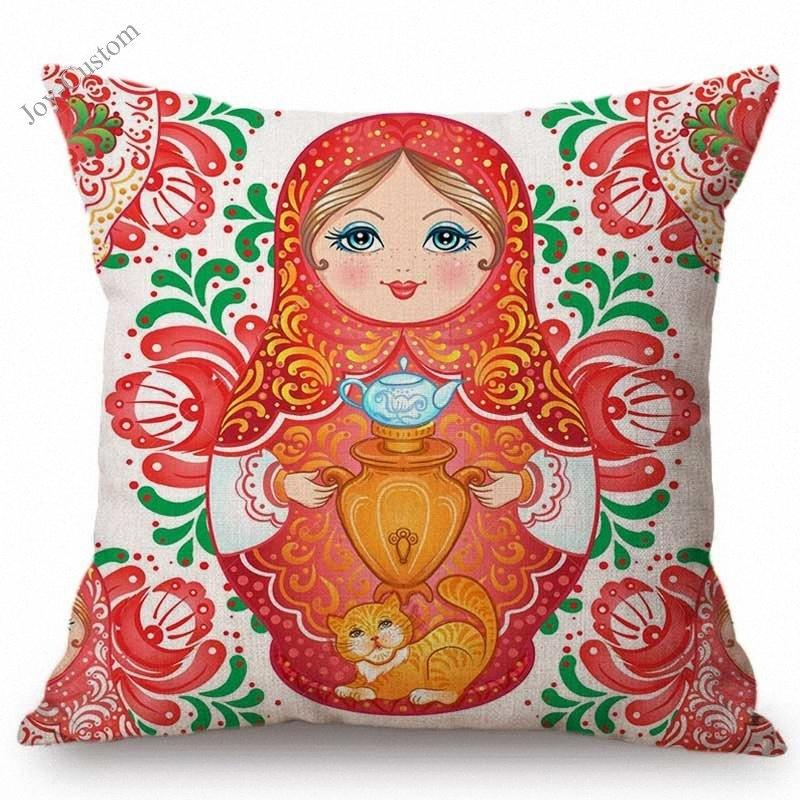 Cute Moscow Souvenir Matryoshka Russian Doll Pattern Home Decoration Sofa Throw Pillow Case Russia Style Linen Cushion Cover aHL5#