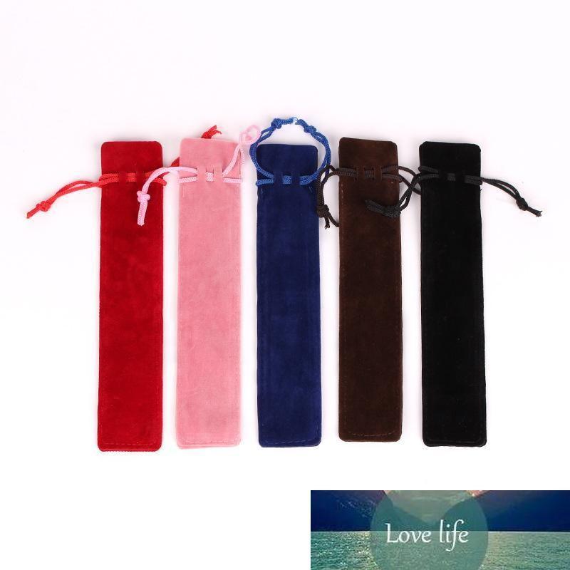 3.5X17.5cm Plush Velvet Pen Pouch Holder Single Pencil Bag Pen Case With Rope Office School Writing Supplies Student Customizable LOGO