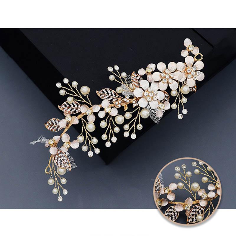 FORSEVEN Parlayan Kristal İnciler Çiçek Tokalar Bantlar headpieces Kadınlar Kız Gelin Noiva Düğün Veil Dekoratif Takı