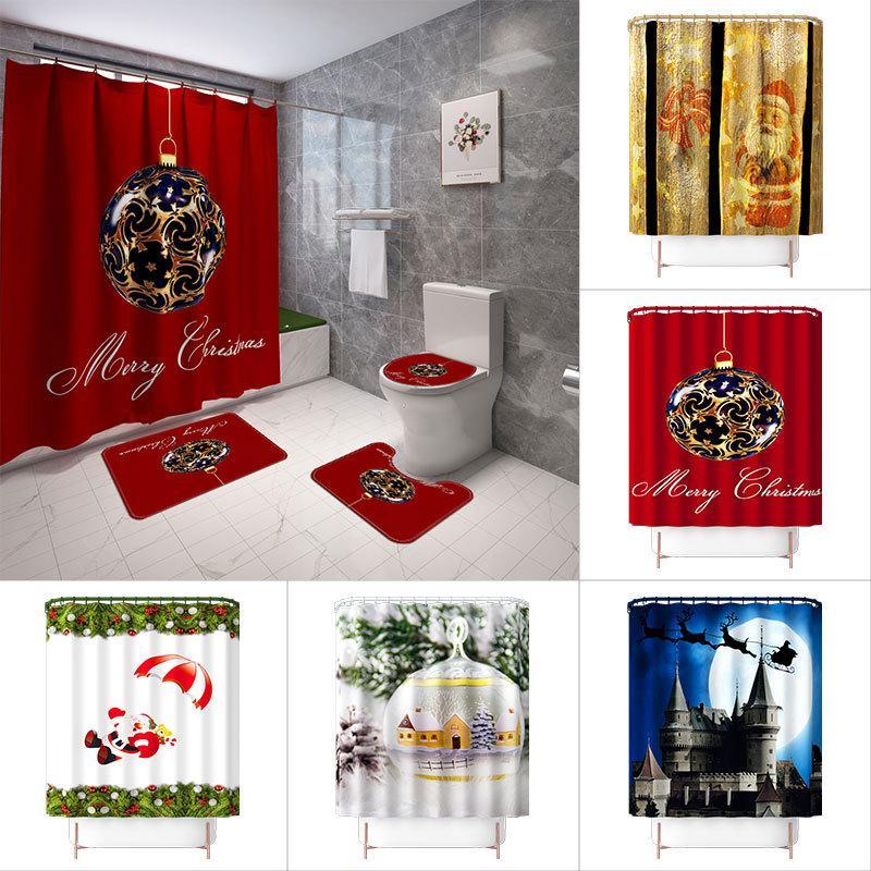 décor imprimé Noël rideau de douche de tapis 4 pièces tapis de sol de couverture de siège de toilette de bain salle de mat non glissement ensembles douche ensemble de rideau