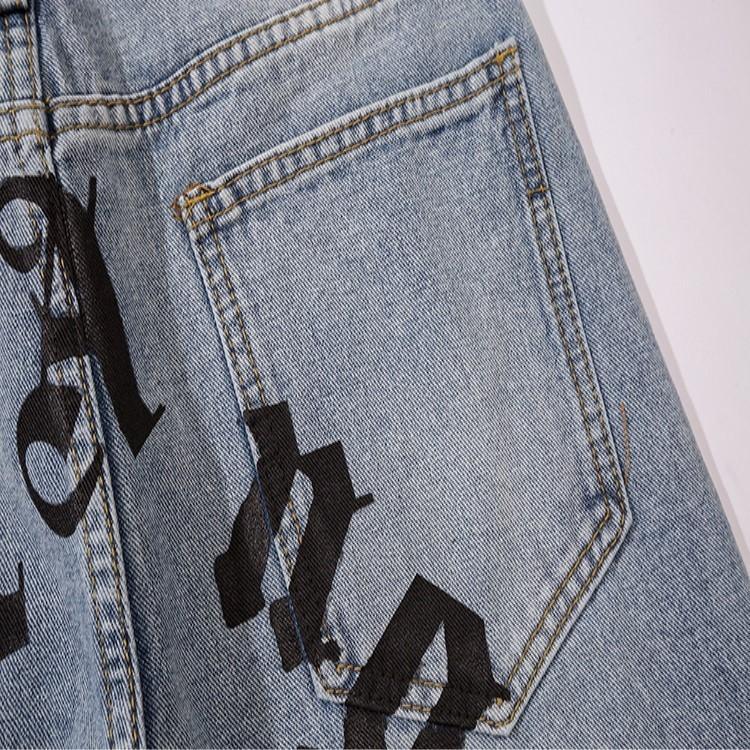 WJLfI autunno inverno nuovo Palm blu di palma e di stampa della lettera casual jeans e pantaloni di angelo pantaloni casual pantaloni jeans delle donne degli uomini