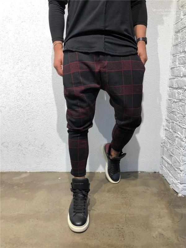 Coulisse Abbigliamento Uomo Plaid 3D Digital Print Mens pantaloni sportivi stilista pantaloni lunghi Mid vita libera