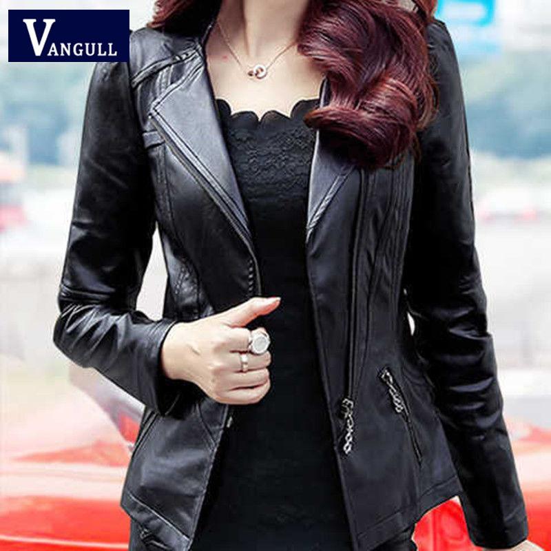 Vangull Kadınlar Deri Ceket Uzun Kollu İnce Kısa PU Sahte Deri Ceket 2019 Sonbahar Kış Yeni Artı boyutu Moda Fermuar Coat CX200812