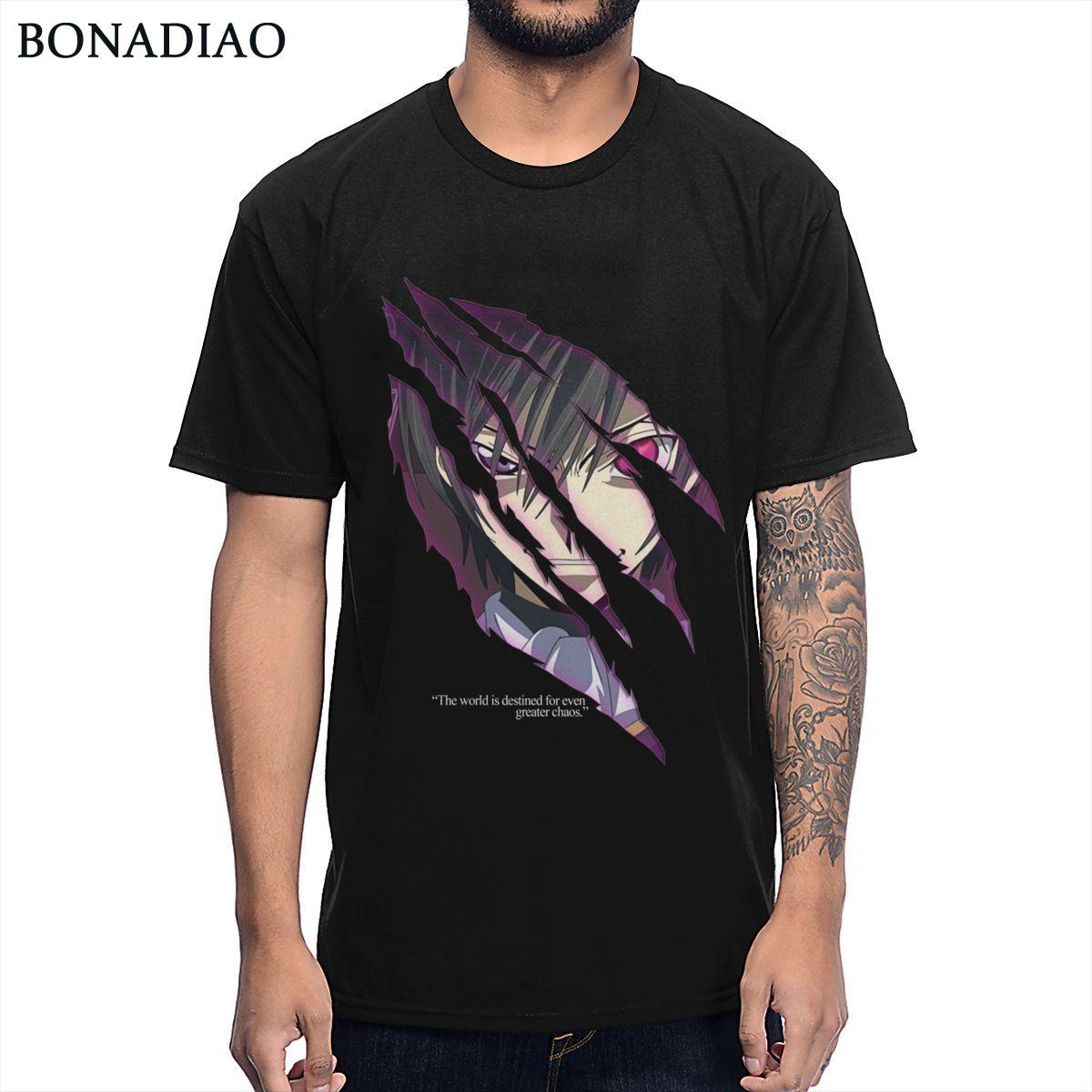 Código de anime Geass Lelouch de la Rebelión camiseta cuello redondo 100% algodón único Homme Camiseta