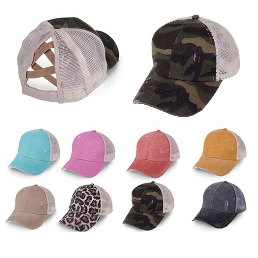 Хвостик Бейсболка Омывается ватный тампон Hat Mesh Дышащего Trucker Pony Caps Красочного Унисекс Sun Hat Snapbacks Открытого HHA1415