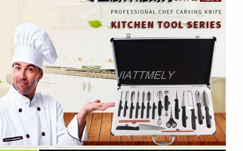 escultura faca, faca do cozinheiro chefe escultura, ferramenta prato de frutas, ferramenta de frutas, 18PCS / set gUdt #